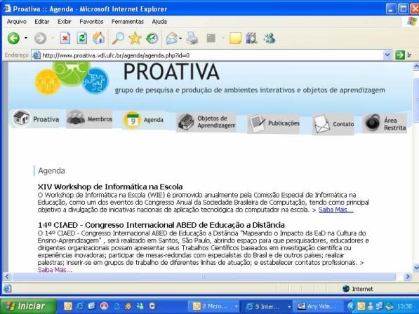 página de abertura do site PROATIVA-Grupo de pesquisa e produção de  ambientes interativos e objetos de aprendizagem. Na parte superior a  esquerda do site tem o logo, logo abaixo, tem o menu e na parte central  exite uma apresentação escrita.